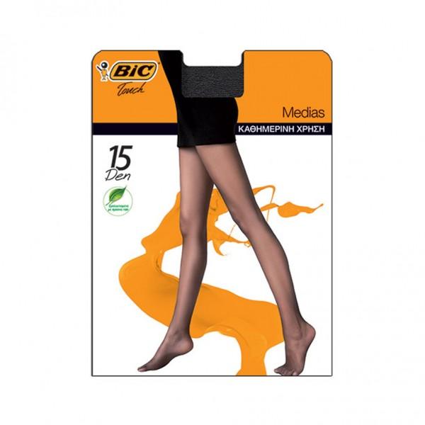 Bic Touch Collant Femme Transparent, Semi-Brillant Medias - 15D