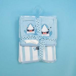 Coffret Smile : carré de bain + Serviette + Gant de bain à motif Requin - Bleu