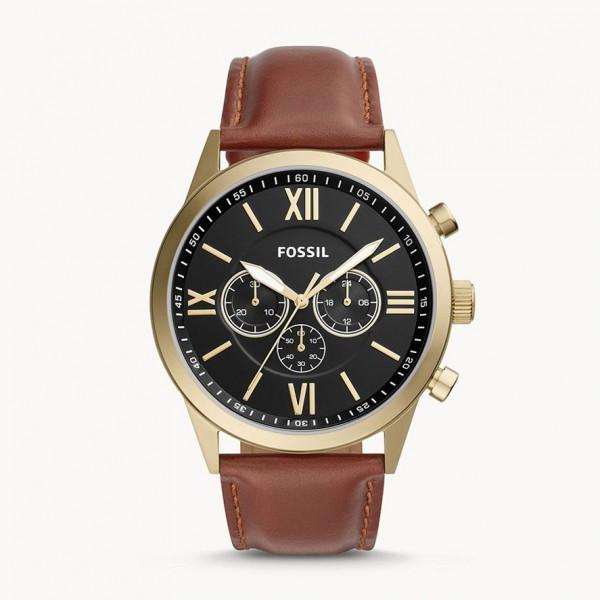 Montre Flynn chronographe de cuir marron- Fossil