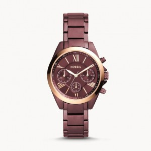 Montre unisexe Modern Courier Midsize chronographe en acier inoxydable couleur bordeaux - Fossil