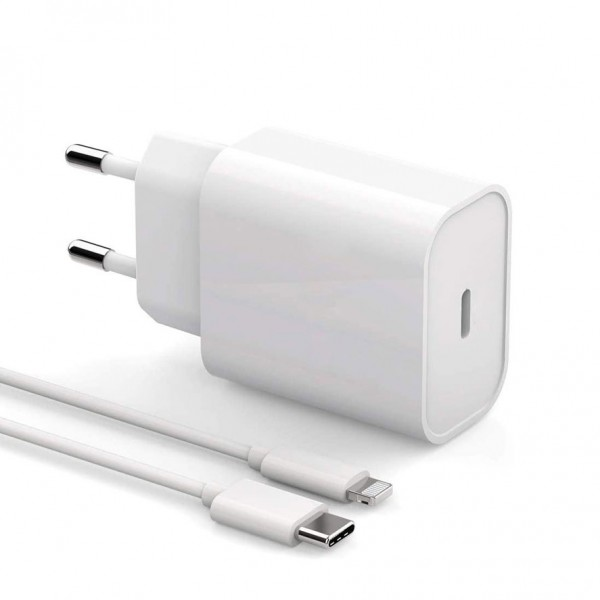 Chargeur Adaptateur pour iPhone, iPad ou iPod APPLE 18W + Câble Lightning USB type C - Blanc