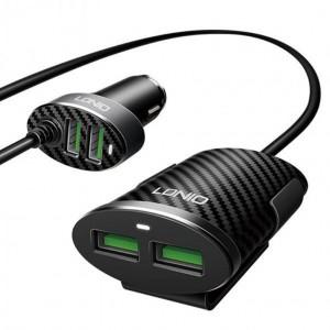 Chargeur de Voiture LDNIO C502 5.1A 4 Ports USB avec câble d'extension - Noir