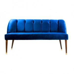 Canapé banquette en velours rétro chic avec pieds en bois - LEON - Bleu