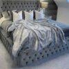 Plaid Couverture En Fausse Fourrure Douce Et Luxueuse Doublure Polaire - 200x170cm -  Gris