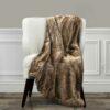 Plaid Couverture En Fausse Fourrure Douce Et Luxueuse Doublure Polaire - 150x170cm -  Marron