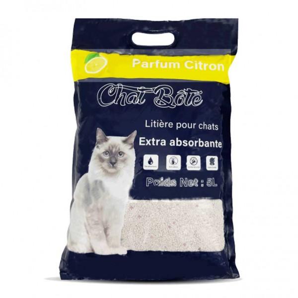 Litière 5L absorbante pour chat - Parfum Citron - CHAT BOTE