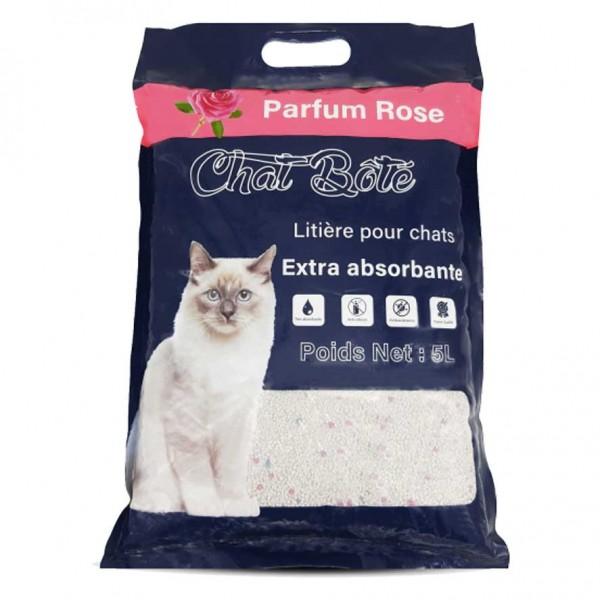 Litière 5L absorbante pour chat - Parfum Rose - CHAT BOTE
