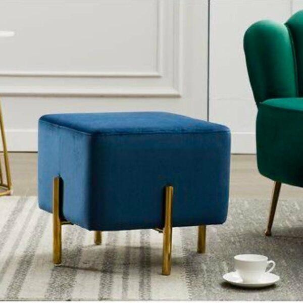 Pouf cube en velours 40x40 cm à pied métal doré - MABOURETTE - Bleu