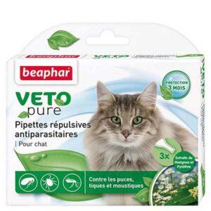 Lot de 3 pipettes VNA répulsives antiparasitaires chat 3x1ml 6160 – Beaphar