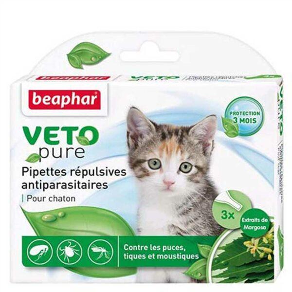 Lot de 3 pipettes VNA répulsives antiparasitaires chaton 3x0,4ml 6153 – Beaphar