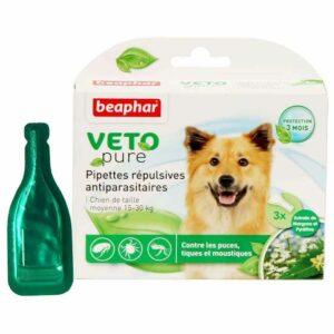 Lot de 3 pipettes répulsives antiparasitaires chien moyen 15-30 kg 6139 – Beaphar
