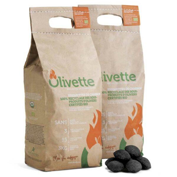 Briquette de charbon vert d'olive – 100% Bio –  3 kg – Olivette